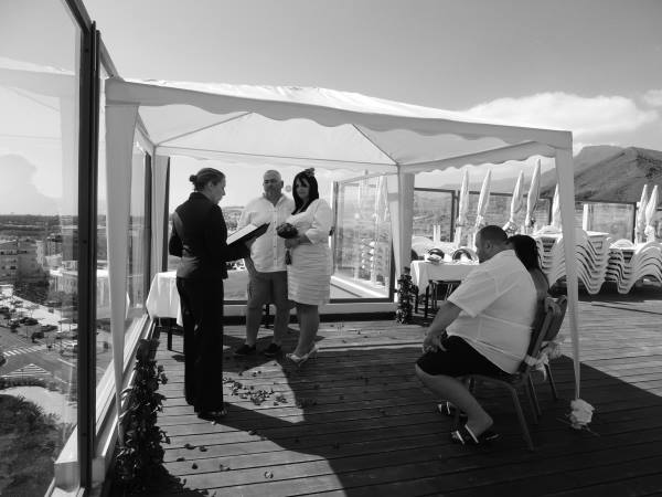 The ceremony took place on the roof top of the hotel